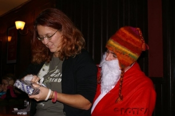 Clare gets her gift from Father Christmas